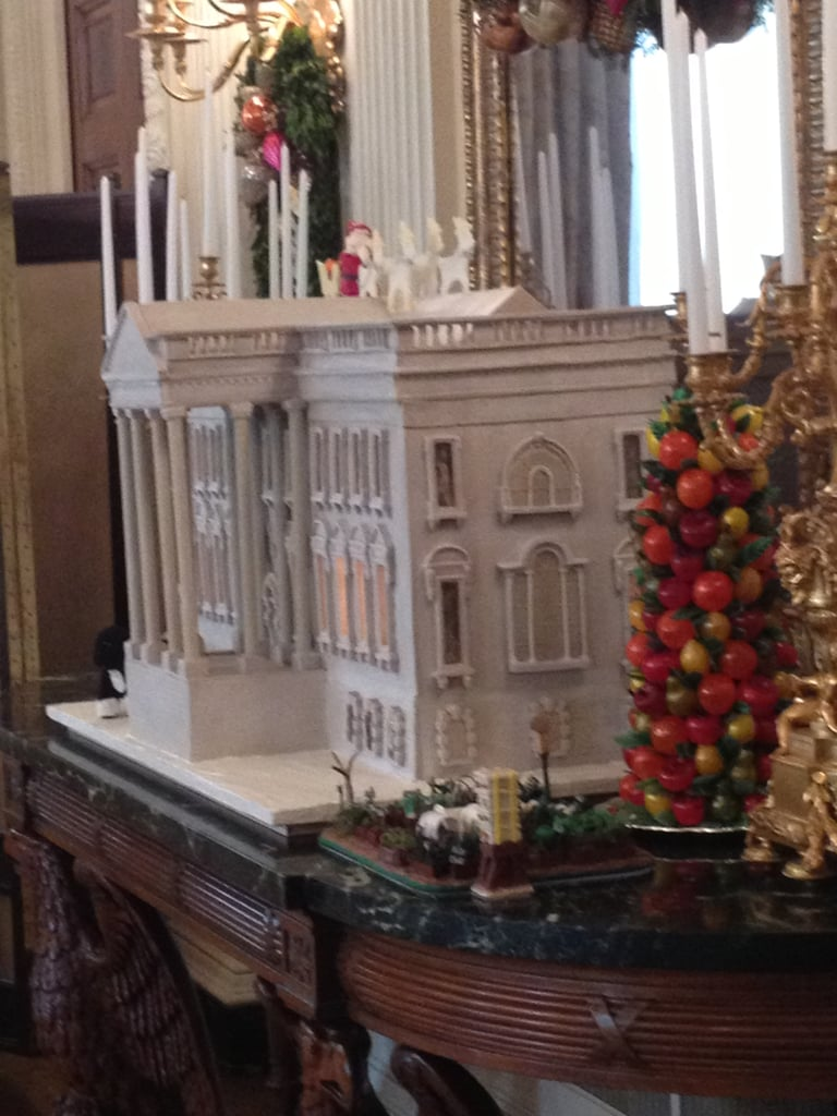 We had an up close look at this year's White House, which Bill Yosses made out of an unleavened bread dough. In the forefront is a replica of the first lady's garden —made of chocolate!