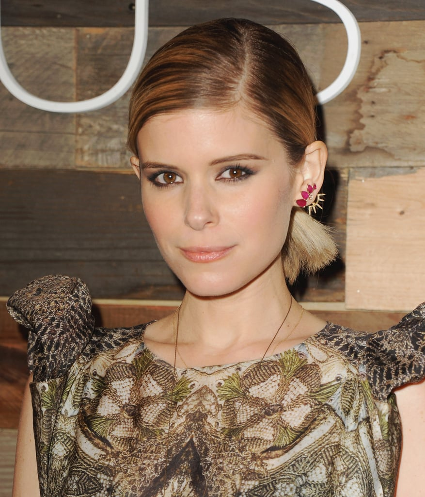 Kate Mara showed off some high-low styling skills, adding gorgeous Jacquie Aiche earrings to her H&M look.