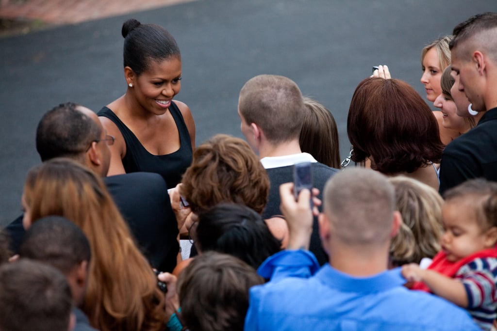 Michelle greeted military families at the White House on July 4, 2009.