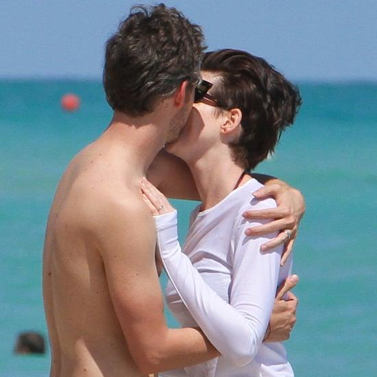 Anne Hathaway Kisses Husband in Miami Beach | Photos