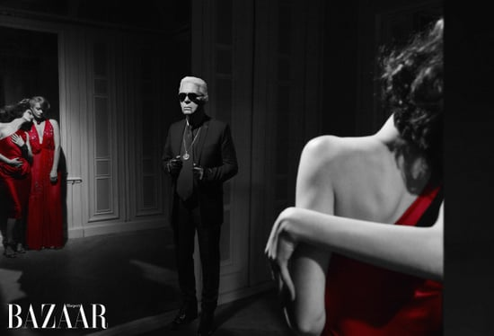 Karl Lagerfeld in Harper's Bazaar with Clemence Poesy and Anna Mouglais