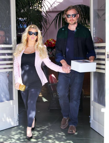Jessica Simpson and Eric Johnson left Valentine's Day lunch hand in hand on Thursday in LA.