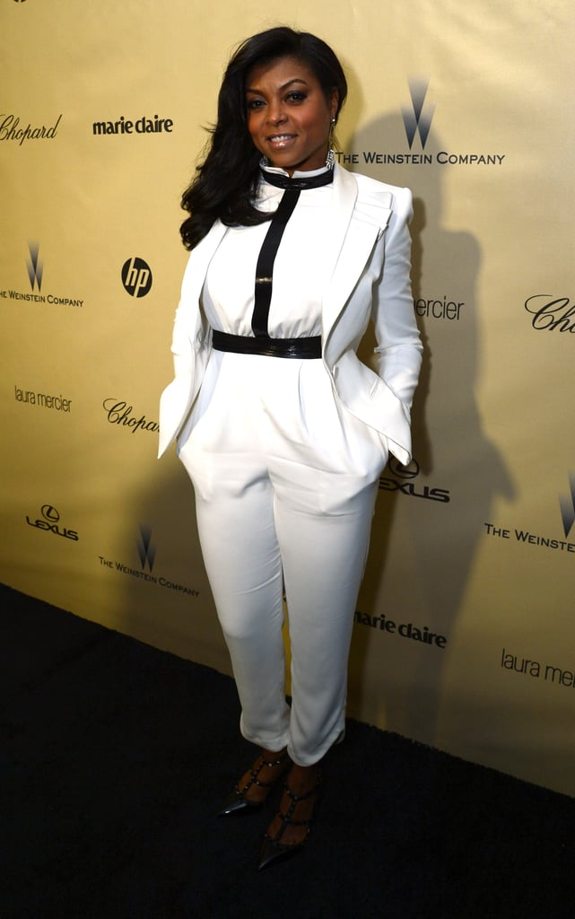 Taraji P. Henson worked a white pantsuit at the Weinstein Company's after party.