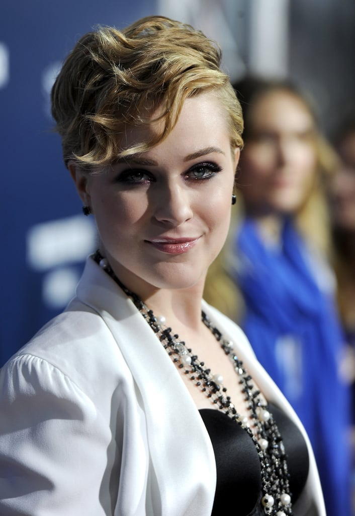 Evan Rachel Wood accessorized with a chunky necklace.