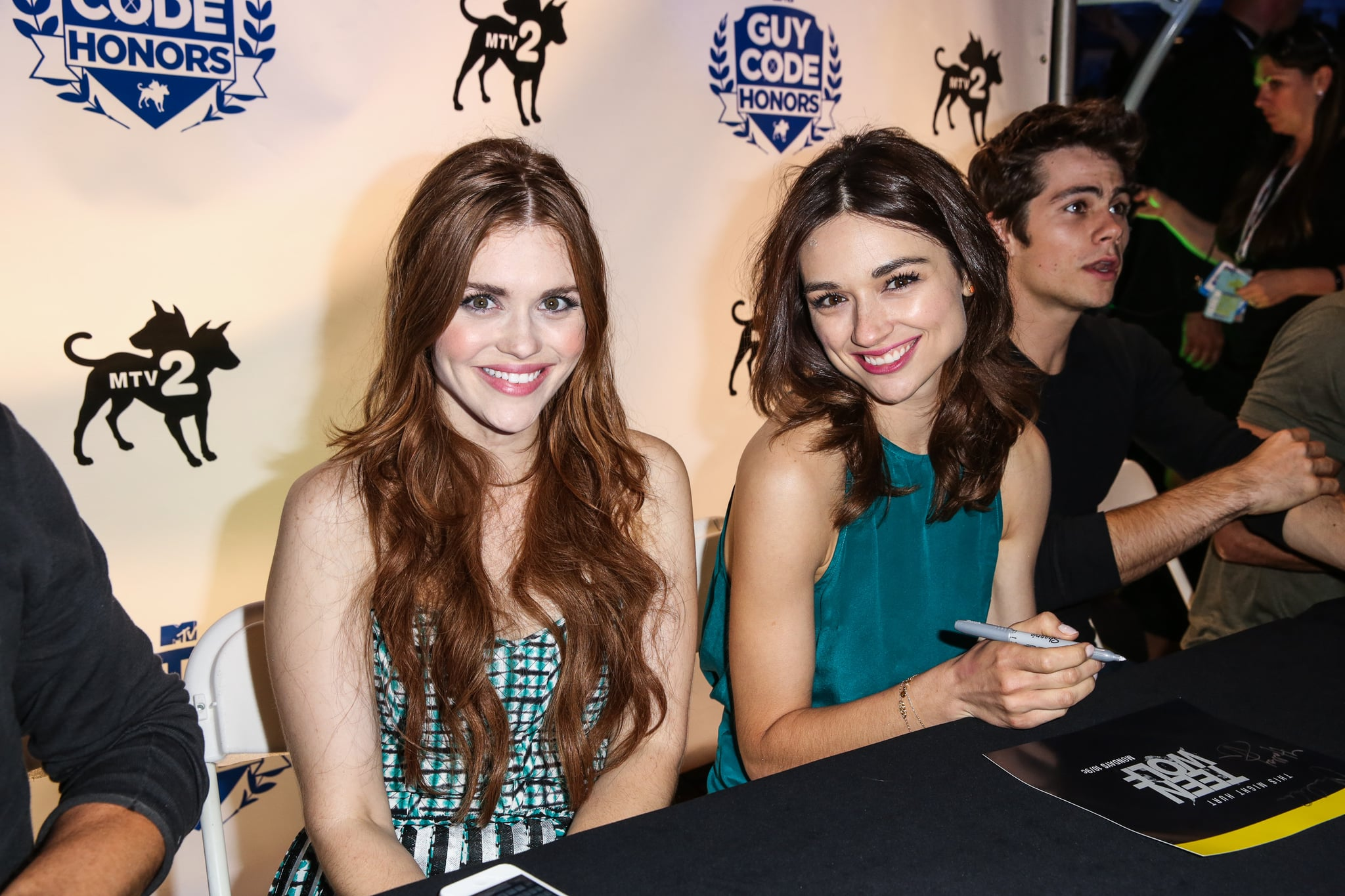 Crystal Reed and Holland Roden sat together at MTV2's Party in the Park.