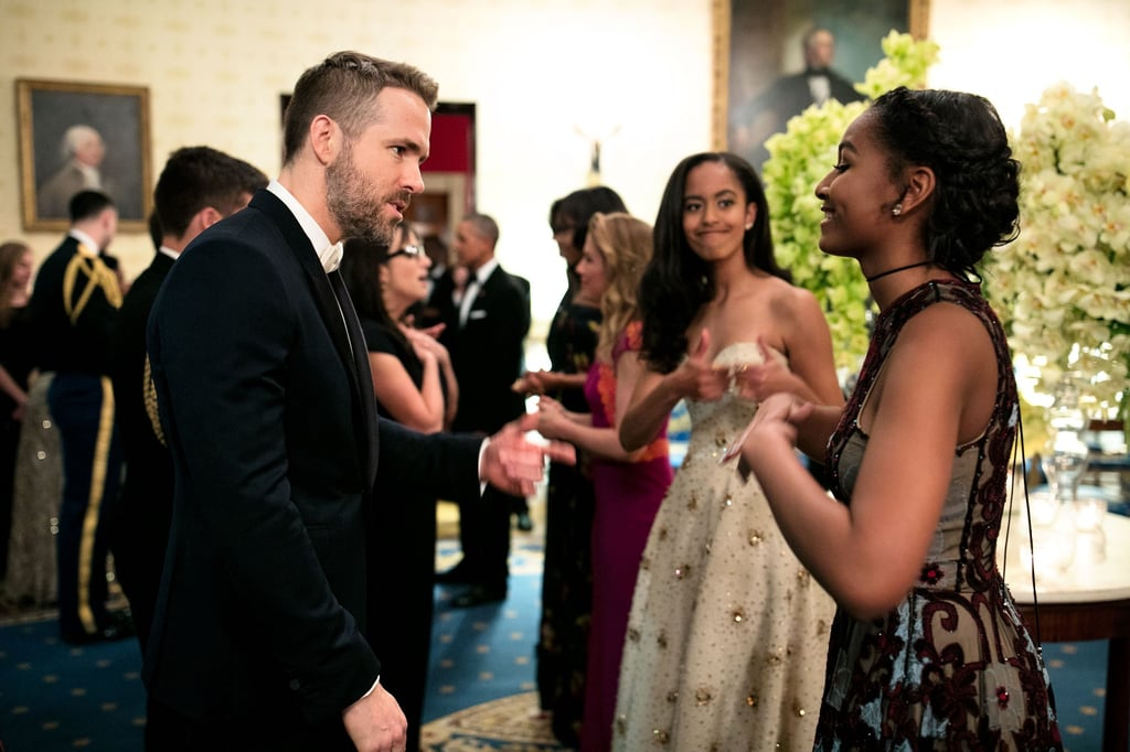Malia gave a playful thumbs-up while her sister chatted with Ryan Reynolds during the White House state dinner in March 2016.
