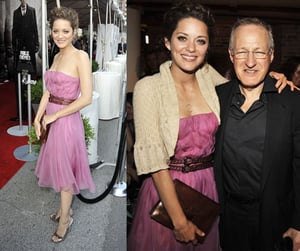 French Actress Marion Cotillard in Pink Strapless Christian Dior Dress at The Public Enemies Premiere in Chicago