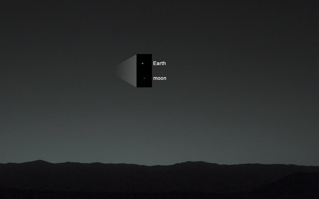 Earth and our moon look teeny tiny in this picture taken from Mars by the Curiosity rover. Source: NASA/JPL-Caltech/MSSS/TAMU
