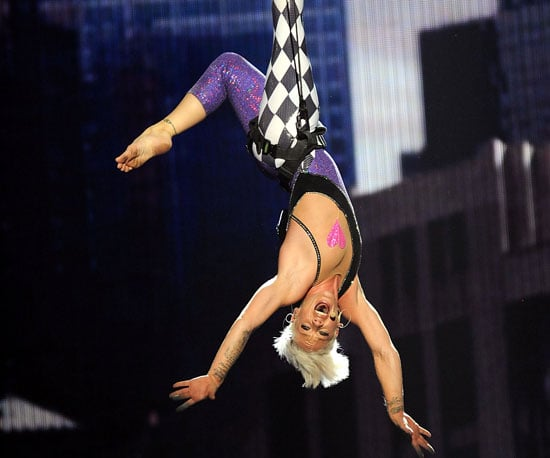 Pink showed off her acrobatic skills during a 2010 performance.