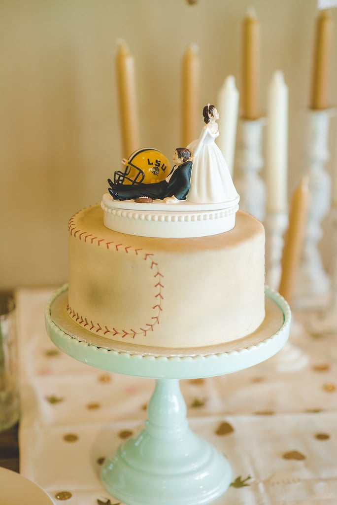 Sure, sports are an unexpected theme for a cake, but add a scalloped cake plate, and it's as feminine as it gets.