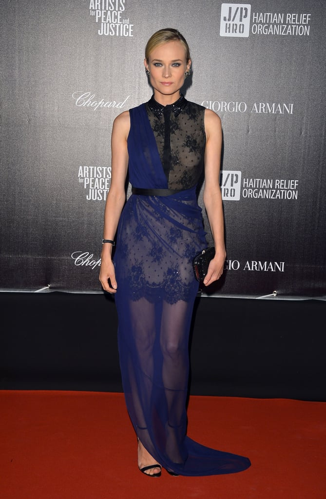 At the 2012 Cannes Festival Haiti Carnival benefit, Diane Kruger donned a stunning Jason Wu sheer lace gown, paired with ankle-strap sandals.