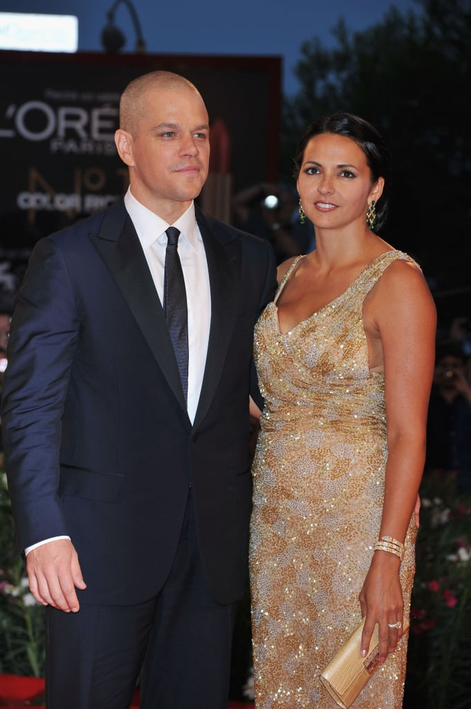 Matt and Luciana Damon at the Contagion premiere.