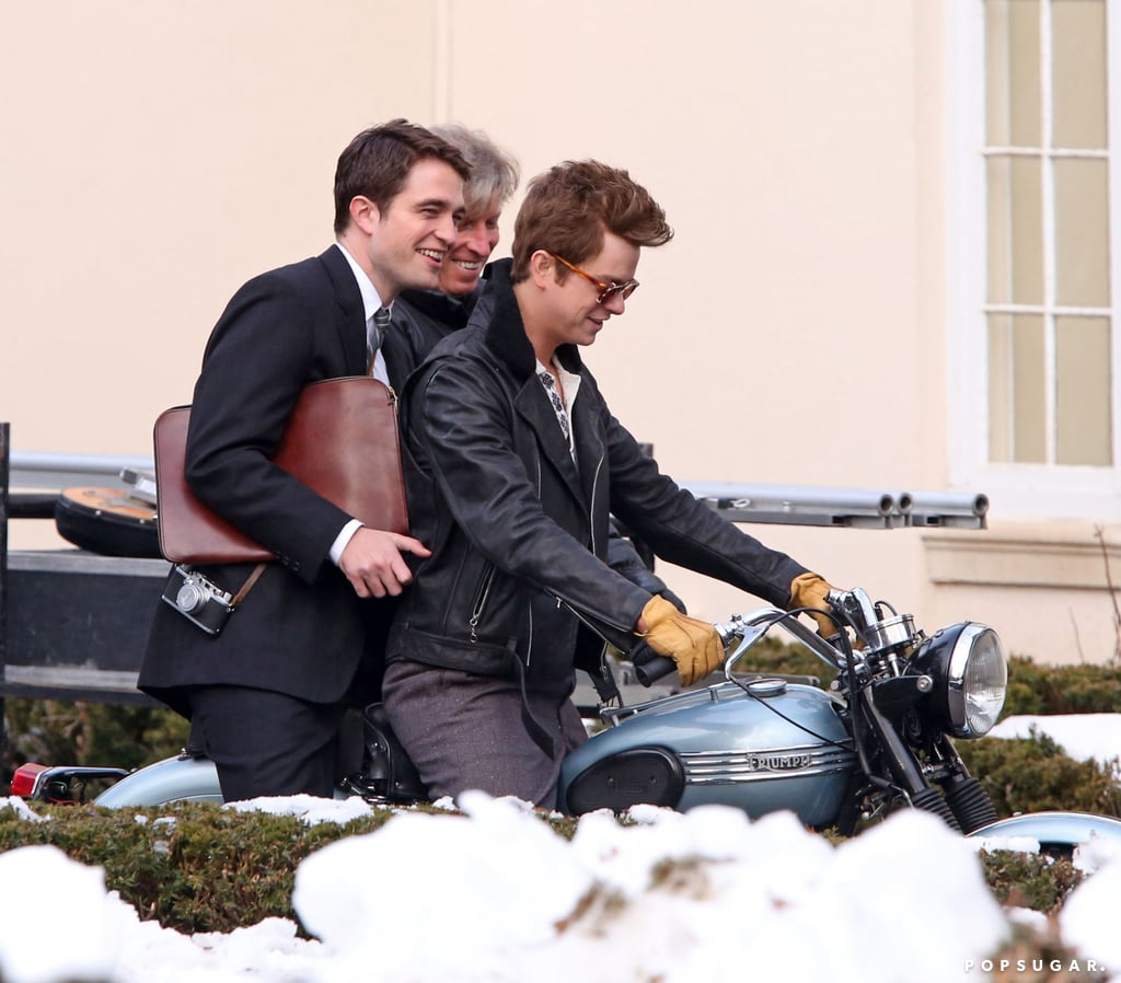 Robert Pattinson rode a motorcycle with costar Dane DeHaan on the set of Life in Toronto on Tuesday.