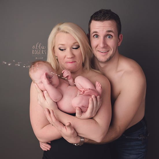 Photo of Baby Peeing on Parents During Photo Shoot