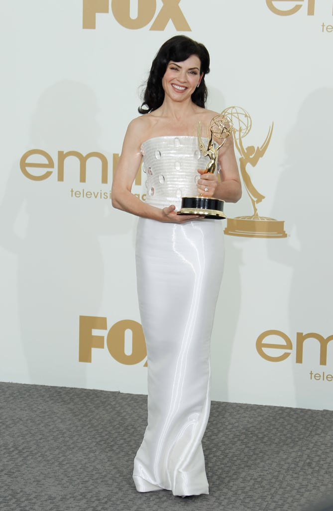 Juliana Margulies in a white strapless dress at the Emmys.