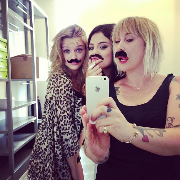 Selena Gomez took silly mustache photos with her friends. Source: Instagram user justinbieber