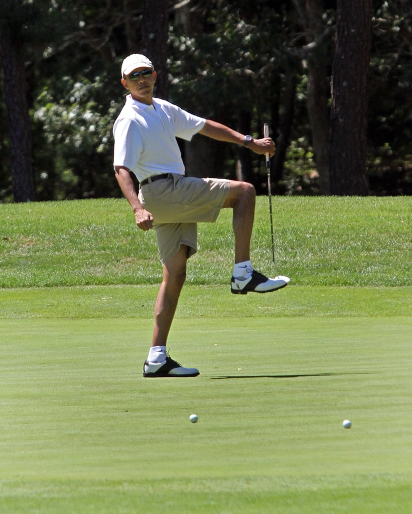 The present kicked off his vacation Sunday with some golf.