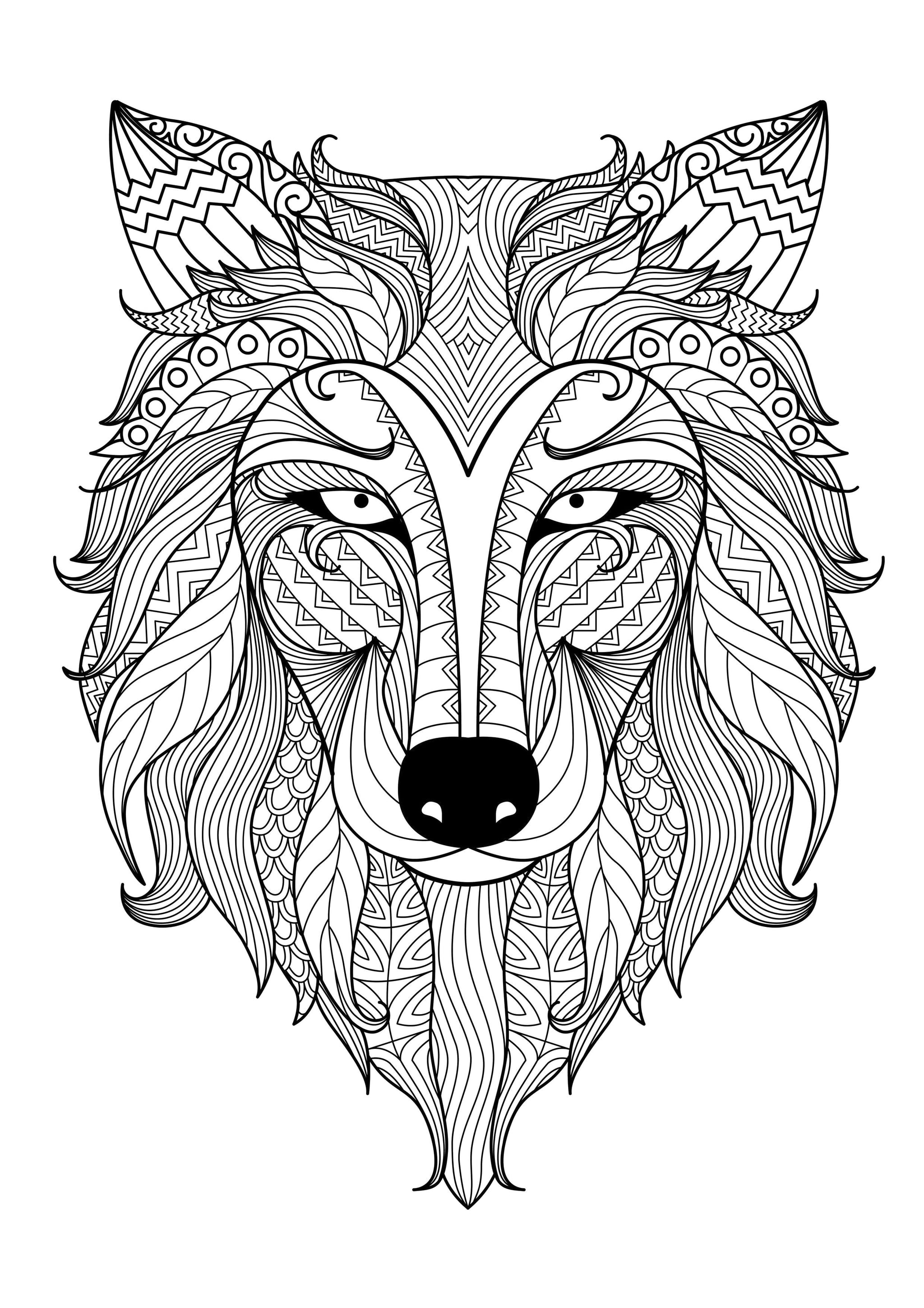 Get the coloring page: Wolf   50 Printable Adult Coloring ...