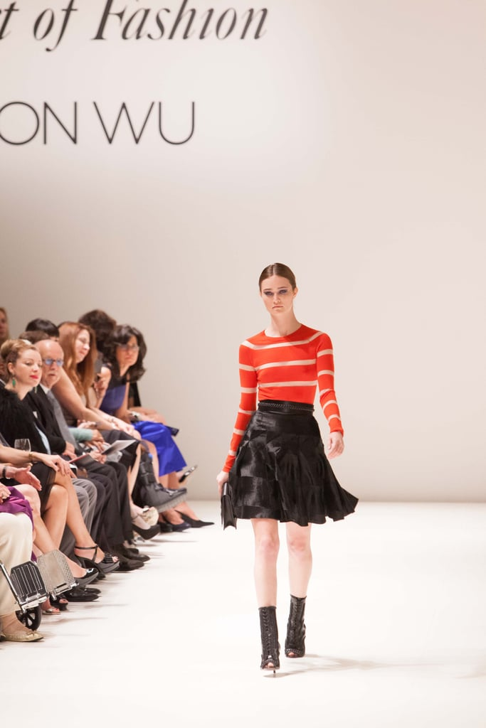 Wearable and flirty, this striped top and frilly skirt combo was a sophisticated take on daytime separates.