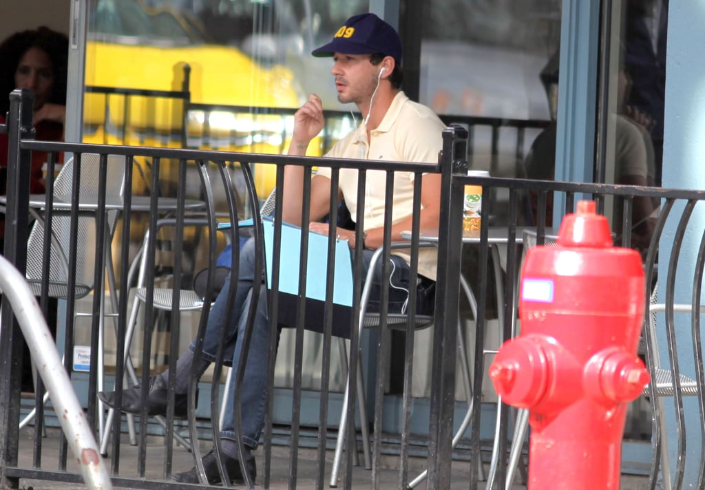 Shia LaBeouf chatted on his phone at a Toronto coffee shop.