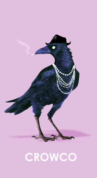 """Crowco Chanel  The Concept: """"Determined to be more than just another corvine orphan, Crowco channeled her industrious spirit and deft claw-beak coordination to usher in a new era of avian fashion — one fish bone, strand of hair, and burlap scrap at a time. Her sleek silhouettes and murderous perfumes led Harper's Cawzaar to trill, 'The chick who hasn't at least one Crowco best leave the flock. CU-CAW!'"""" The Real Deal: The fashion world will forever thank the universe for French designer Coco Chanel, who brought us iconic pieces like the classic quilted bag."""