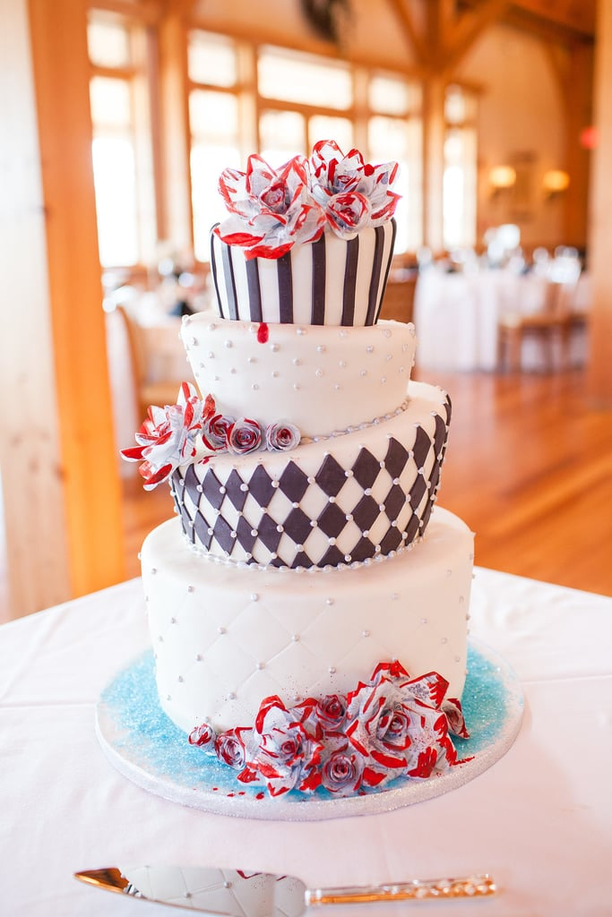 We love how uniquely shaped tiers make such a striking cake.