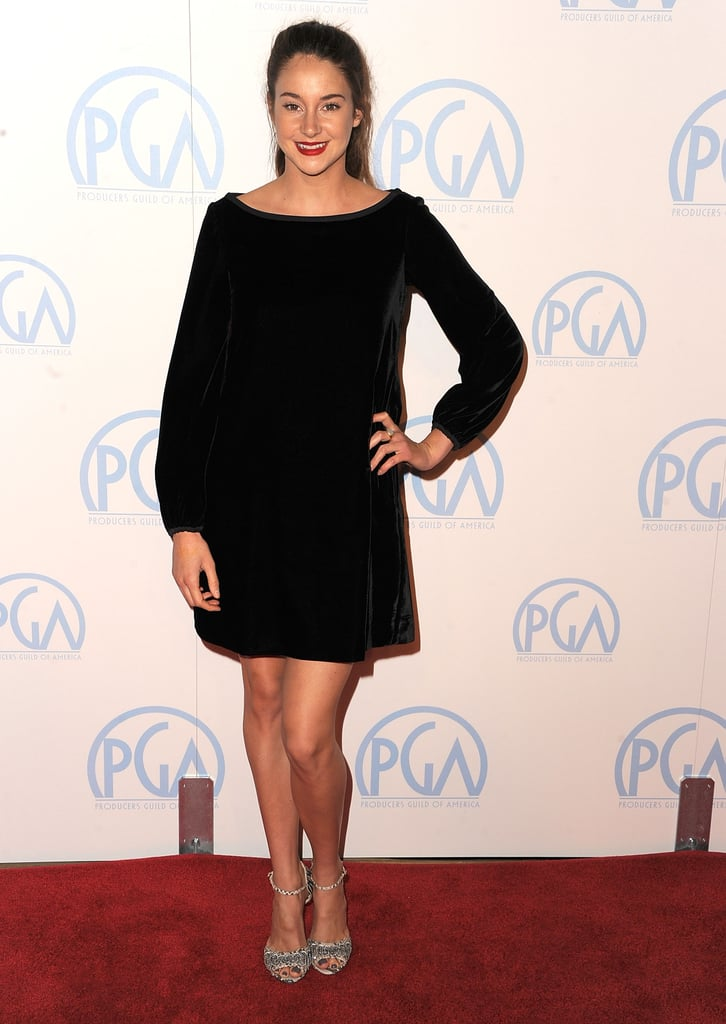 Shailene Woodley opted for black, chic, and simple with this long-sleeved LBD and strappy silver heels.