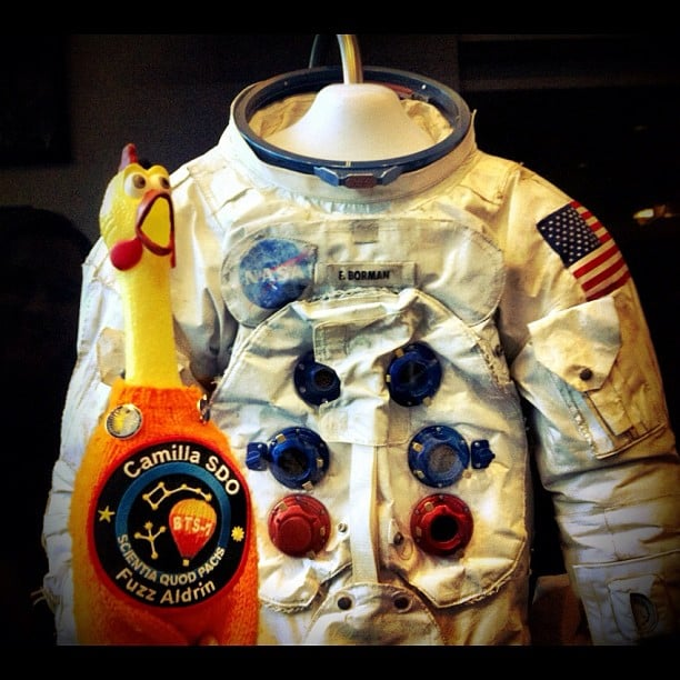 """Astronaut Borman's suit. He flew on Apollo 8 around the Moon; 1st humans to travel around the Moon."" Source: Instagram user camillasdo"