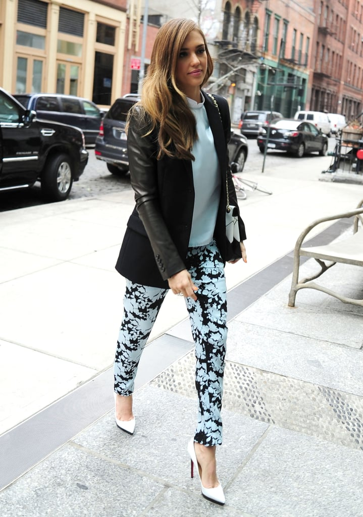 Jessica Alba's latest NYC look incorporated all the hottest trends: leather-sleeved blazer, floral trousers, and white pointed pumps.