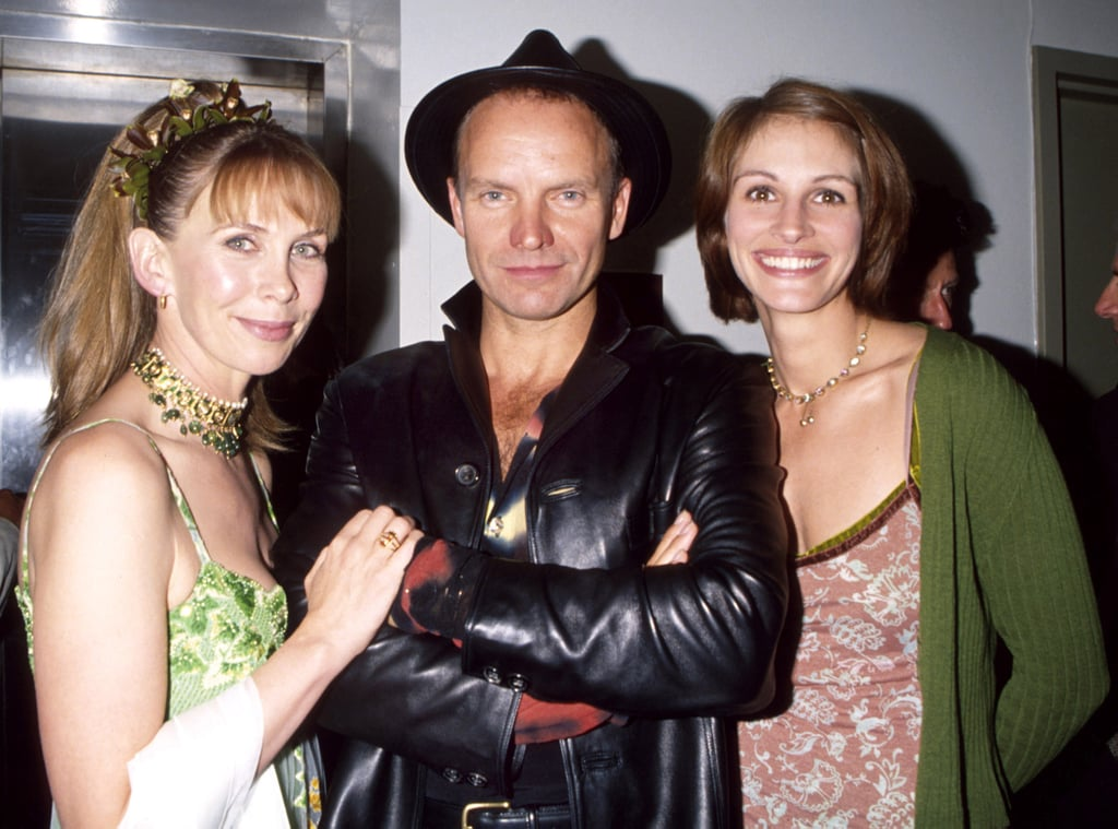 Julia posed backstage at the Rainforest Foundation Benefit Concert in 1997 with Sting and his wife Trudie Styler.