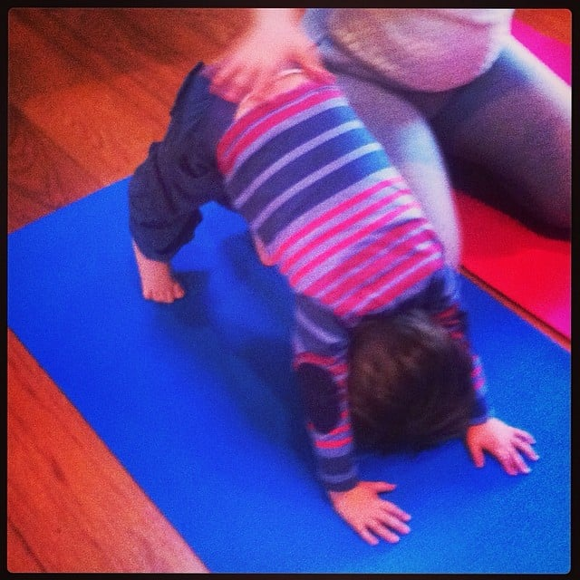 Alyssa Milano did a little prenatal yoga with Milo. Source: Instagram user milano_alyssa