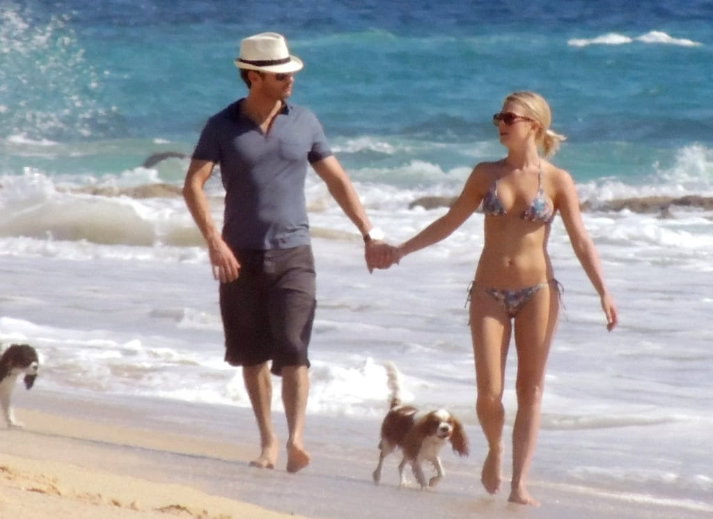 Ryan Seacrest and Julianne Hough held hands on the beach in Cabo in November 2012.