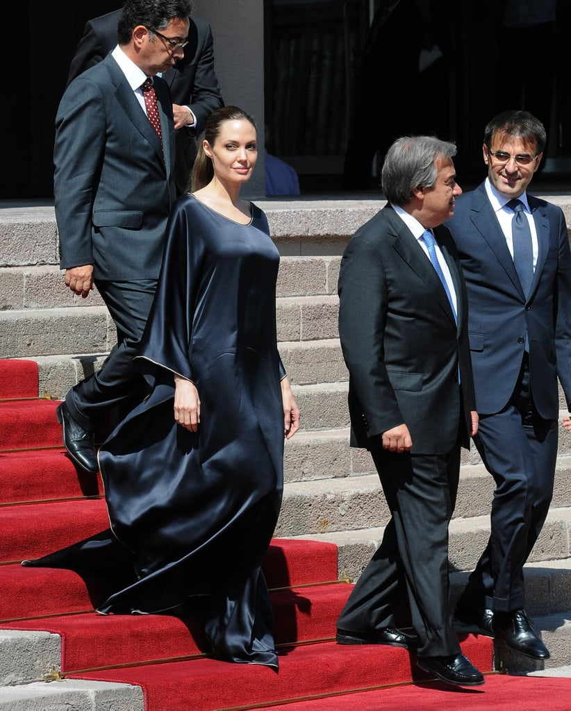 Angelina Jolie walked down the stairs.