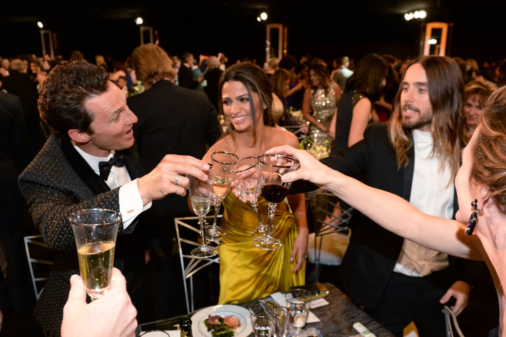 Cheers! Matthew McConaughey, Camila Alves, Jared Leto, and Jennifer Garner clinked glasses in 2014.