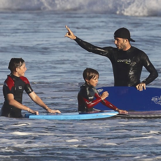 David Beckham and Sons Boogie Board in Malibu Pictures