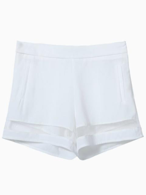 Choies White Shorts With Mesh Hem