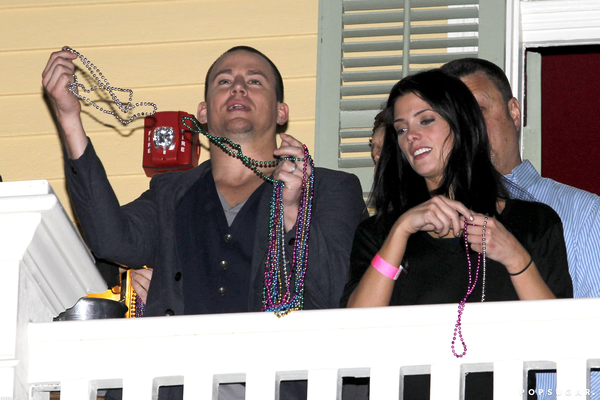 Channing Tatum Celebrates the Super Bowl With Beads and Buddies