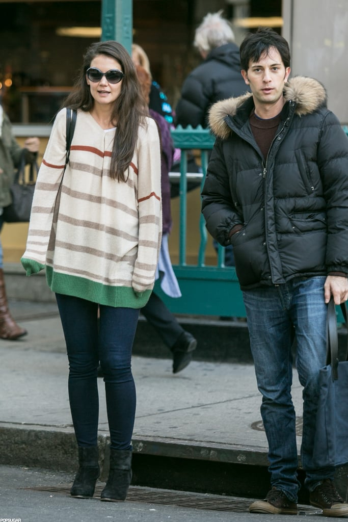 Katie Holmes and her male friend made the trek to her Broadway show.