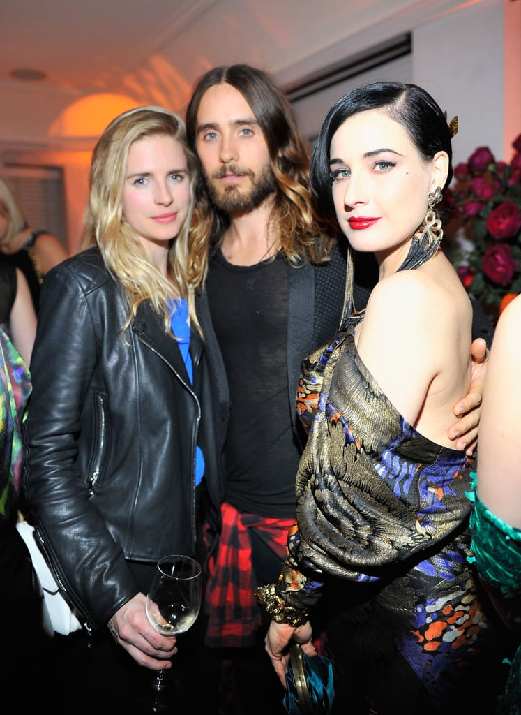 Jared partied with Brit Marling and Dita Von Teese at a pre-Golden Globes bash.