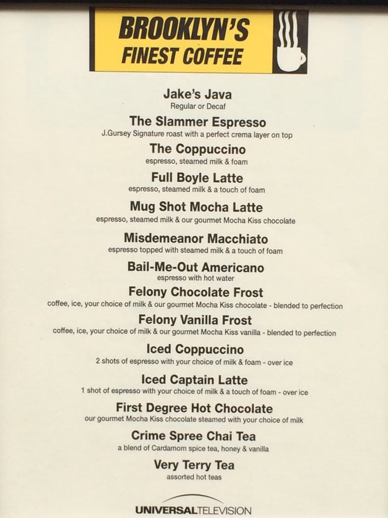 Also, Brooklyn Nine-Nine-themed coffee drinks!