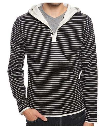 21 men Mock Layered Top Stripe Hood ($19)