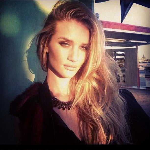 Rosie Huntington-Whiteley shared a sultry snap while on a Vogue shoot. Source: Instagram user rosiehw