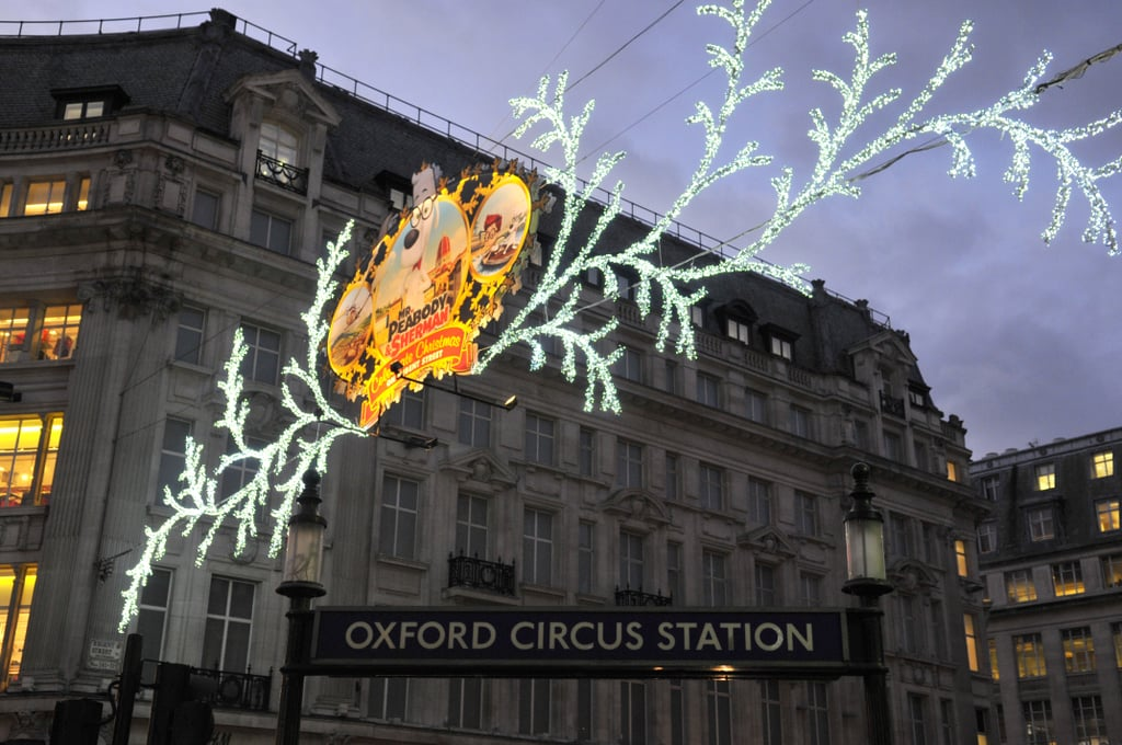 At Oxford Circus in London, holiday decorations were on display.