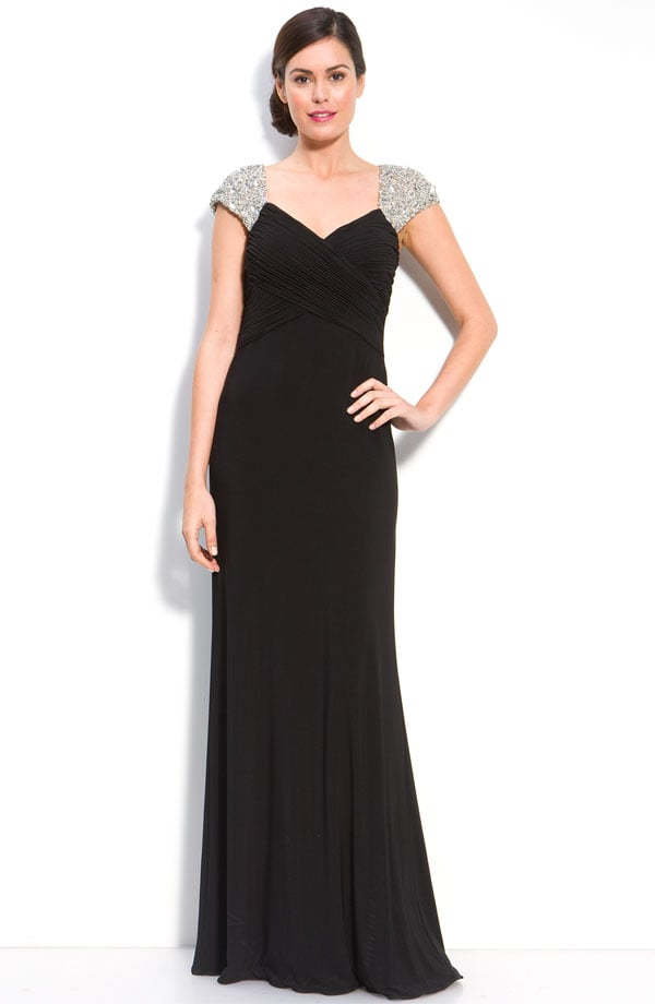 JS Boutique beaded sleeve jersey gown ($188)
