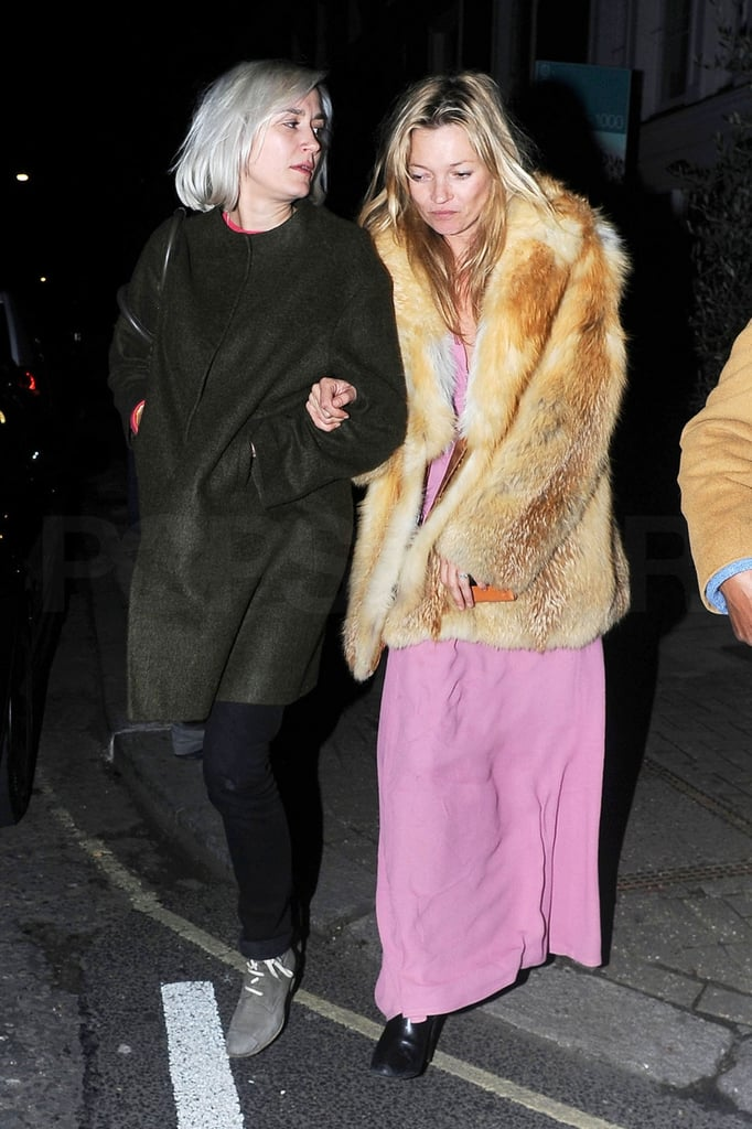 Kate Moss Goes Long and Pink For a Simple Dinner With Friends