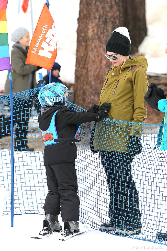Gwen Stefani and her son, Zuma Rossdale, shared a sweet moment during a slope session in Mammoth Lakes, CA, on Wednesday.