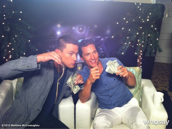 Channing Tatum and Matthew McConaughey flashed their cash during a Magic Mike junket. Source: Twitter user McConaughey