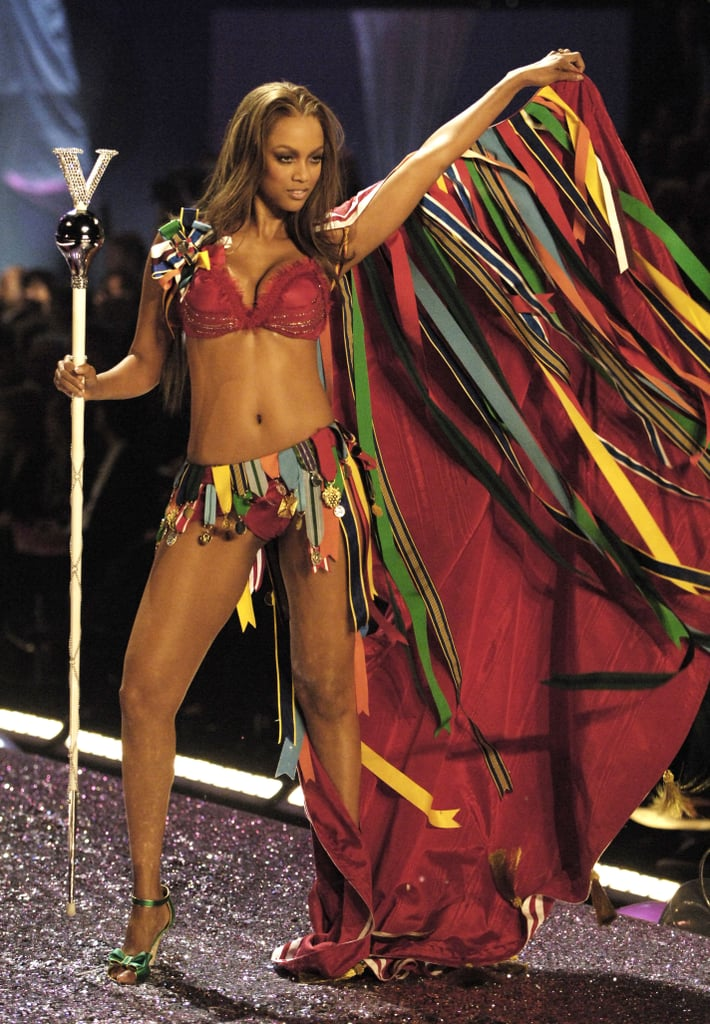 Tyra Banks donned a colorful cape on the runway in 2005.