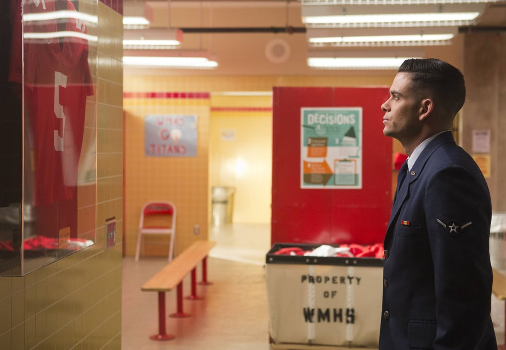 Puck (Mark Salling) has a moment with Finn's old jersey.