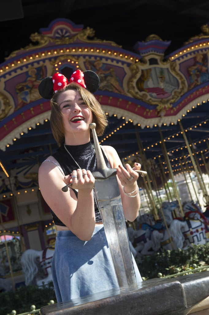 Game of Thrones star Maisie Williams wore Minnie Mouse ears during her August 2013 trip to Disneyland.